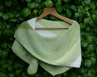 Spring Pistachio Hand Knitted Wrap, Scarf