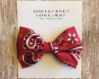 Red Bandana Bow - Baby Girl Bows - Toddler Bows - Baby Girl Headbands and Bows - Baby Girl Gift - Baby Shower Gift