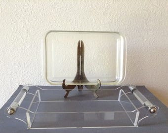 Vintage Mid Century Modern Serving Tray, Lucitte and Chrome Handled Serving Stand with Glass Serving dish