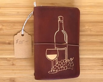 Wine Tasting Journal with Refillable Leather Cover