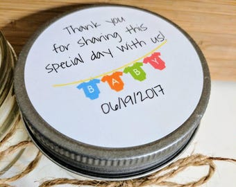 Set of 12 - 4 oz Soy Candles - Customizable Party Favor - Baby Shower - Personalized Gift - New Baby - Custom Thank you -