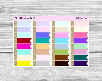 Multicolor Glitter Top Long Page Flags Planner Stickers