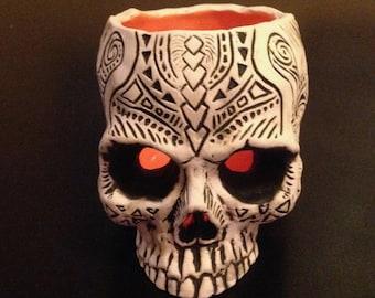 Shrunken Skull Tiki Votive - orange - limited edition
