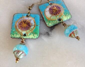 Boho chic earrings, blue, green, enameled copper Czech glass bicone bead.
