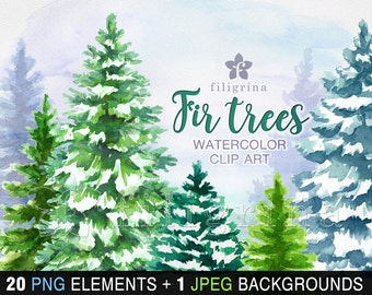 Christmas WATERCOLOR Clip Art. Fir trees, conifer, coniferous forest, winter nature, evergreen. 20 elements + 1 background. Read about usage