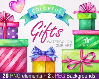 GIFT Clip Art. Birthday gift boxes, party invitation, bow, Valentine's day, heart, festive decor, greeting card. 20 elements. Read about use