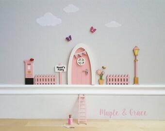 Fairy door kit with personalised signpost - pink - fairy house - fairy accessories - tooth fairy- elf - indoor fairy door