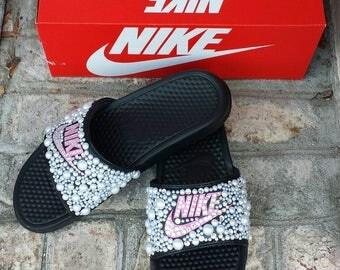Bling Nike Slide Shoes - Bedazzled Slippers - Custom Nike Slides -  Nike Slides with Pearls- Embellished Nike Shoes - Bling Slip ons - Pink