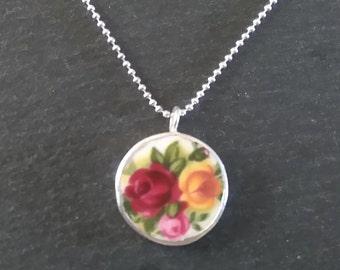 Broken China Jewellery, Sterling Silver Pendant Necklace, Rose Pendant Necklace, Broken China Jewelry, Rose Jewellery