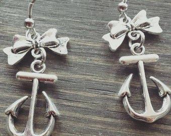 earrings, nautical, sailor, boat anchor