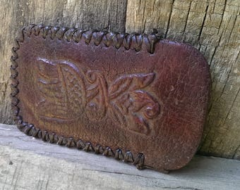 Vintage Brown Hand Tooled Genuine Leather EyeGlasses Case, Case for Sunglasses, Eyeglass Case, Eyeglass Holder from 1970s