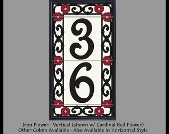 Framed House Number Address Tiles, Spanish Iron Flowers, Vertical