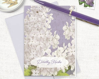 personalized stationery set - GRANDMA'S LILACS in PURPLE - set of 8 folded note cards - custom stationary - floral - flower cards