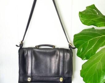Vintage Coach Briefcase Black Leather Laptop Bag