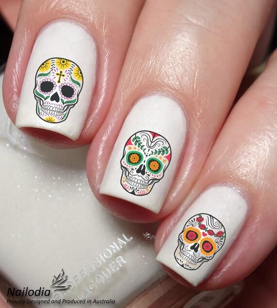 Skull Sugar Nail Art Sticker Water Transfer Decal 66