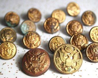 Vintage United States Army WWII Brass Buttons