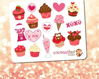 Valentine's Cupcakes & Sweet Treats Mini Planner Sticker Sheet