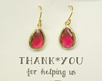 Set of 8 Ruby Red Bridesmaid Earrings, Red Bridal Earrings, Red Drop Earrings, Red Wedding Earrings,  ES8