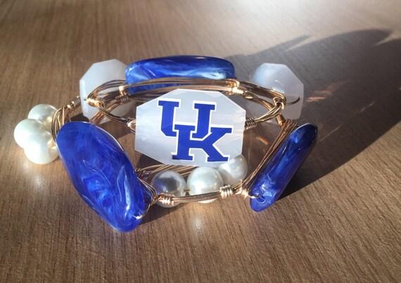 Kentucky bangle bracelet, Bangle set, UK bangle, University of Kentucky jewelry, Wire wrapped bangle, Ky bangle, wire wrapped bracelet