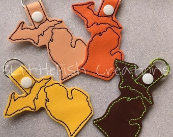 Vinyl Michigan Key Fobs - Glitter Michigan Key Fobs - Keychains - Michigan