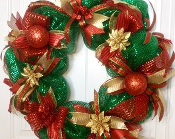 Christmas Deco Mesh Wreath, Christmas Mesh Wreath, Deco Mesh Wreaths For Sale, Christmas Mesh Wreaths For Front Door, Christmas Decor