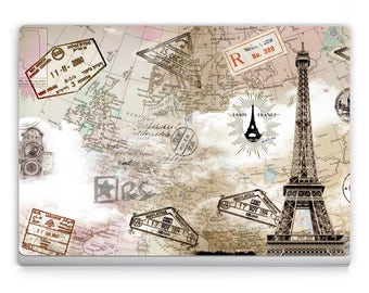 Surface book/Pro 4 Decals *~*World Map Paris *~* Microsoft Surface Stickers/Decal/Microsoft Lap Top