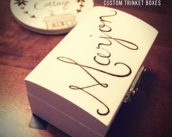 FIVER FRIDAY Personalised box, custom box, wooden box, wood burned box, beautiful lettering, rockery cottage, trinket box, storage box