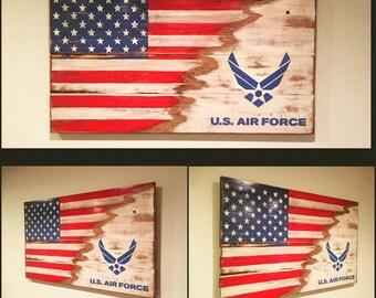 Wood sign USA/Air Force Flag