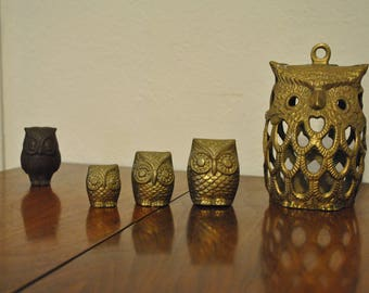 Vintage Set of Solid Brass & Ceramic Owls 1970s Kitsch