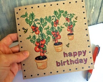 Tomato Birthday Card with Bumble Bees, vegetable plant illustration gardeners card ideal for gran, brother, dad, recycled eco-friendly UK