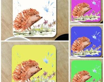 hedgehog coaster, wooden coaster, table coaster, drink coaster, hedgehog, country kitchen, wildlife, hedgehog gift