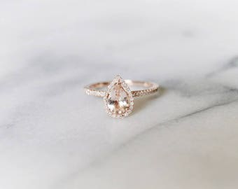 Diamond Halo Rose Gold Morganite Engagement Ring, Rose Gold Morganite Ring, Diamond Halo around Morganite