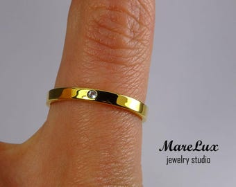 Natural Swiss Topaz 24K Gold Fill Band, November Jewelry 1.5 mm Round Cut Blue Swiss Topaz Wedding Yellow Gold Plated Ring Little Topaz Band