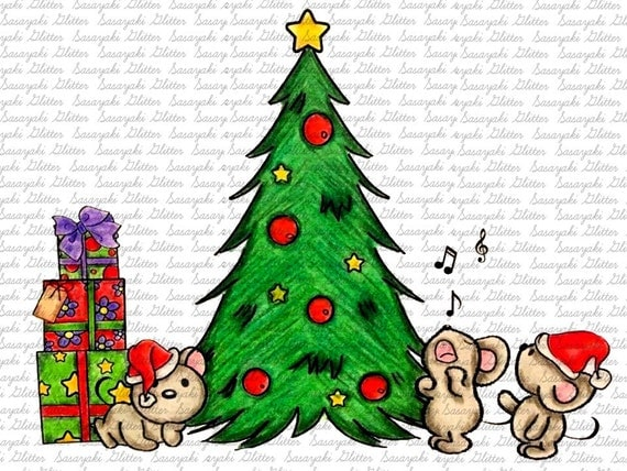 Christmas Mice Digital Stamp by Sasayaki Glitter - Naz - Line art only