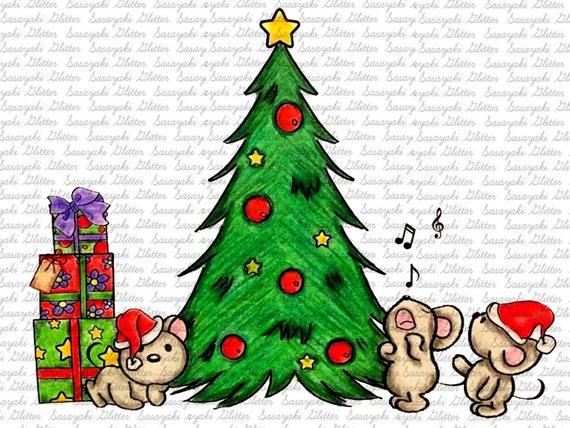 Christmas Mice Digital Stamp by Sasayaki Glitter - Naz - Line art only