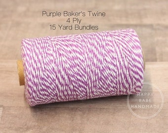 Purple Baker's Twine, 4 Ply, 15 Yards, White Baker's Twine, Purple Twine, Food Packaging, Baker's Twine, Purple Wedding, Purple Gift Wrap