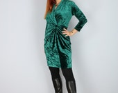 1980's Emerald Crushed Velvet Cinched Waist Party Dress