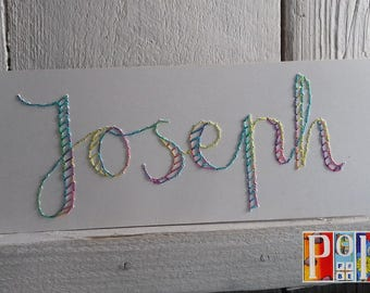 Personnalised name embroidery kit - unique design, any name you choose, pre-punched card lacing craft with hand-dyed silk thread