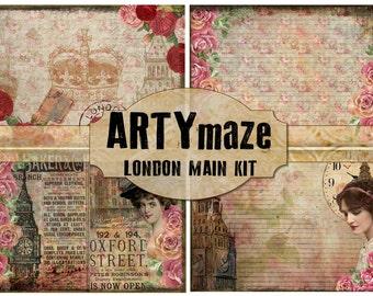 Vintage Digital Journal LONDON Theme  *instant download*