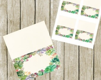 Food Tent Cards for Bridal Shower. BLANK Food Tent Cards Printable, Succulent Table Seating Cards. Food Tent Cards 3.5x2, Instant Download