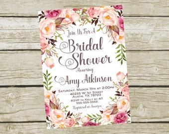 Printable Bridal Shower Invite, Bridal Shower Invitation Printable, Rose Bridal Shower Invitation, Personalized Bridal Shower Invitation 5x7