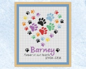 Pet memorial custom cross stitch pattern, personalised rainbow bridge paw prints chart, modern heart, dog, cat, name, PDF - instant download