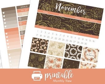 50% Off Printable Planner Stickers November Floral Monthly View Kit! w/ Cut Files! For use with Erin Condren!