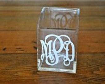 Monogrammed Pencil Holder, Personalized Pencil Holder, Pen/Pencil Holder, Acrylic Pencil Holder, Teacher's Pen/Pencil Holder