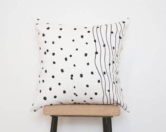 Minimalist scandinavian black and white pillow cover, throw pillows, monochrome, decorative pillows, dots lines pillow, SALE, UK Seller