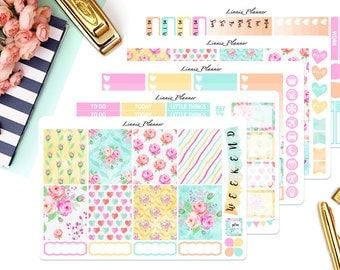 Watercolor Roses Weekly Kit or Al a Carte (matte planner sticker, fits perfect in Erin Condren Life Planner Vertical)