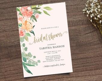 Gold Calligraphy Invite, Boho Chic Invite,  Leafy Invitation, Handpainted Invite, Bridal Shower Invite, Calligraphy Invite, Printable Invite