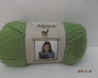 Bernat Alpaca Yarn ~ # 93246 Chartreuse ~ 3.5 oz/120 Yards ~ #5 Bulky ~ 120 Yards