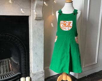 Girls dress, girls green dress, girls corduroy dress, girls pinafore, girls skirt dungerees, girls romper dress, girls everyday dress