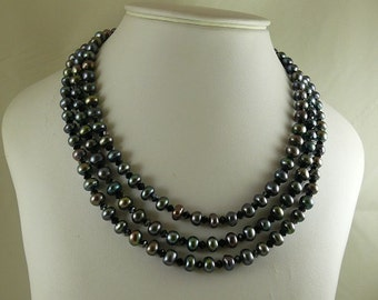 Freshwater Black 7.2 mm - 7.9 mm Pearl & 4.0 mm Crystals Triple Strand Necklace